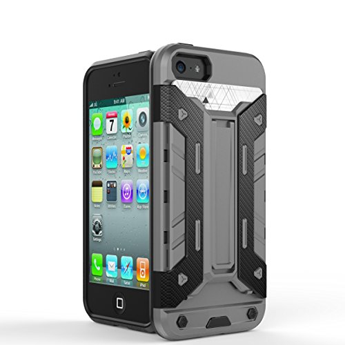iPhone Case Cover iphone5s se fall 2 in 1 neue rüstung harter stil hybrid dual layer 'verteidiger pc harte fälle mit stehen [stoßfeste fall für iphone5s se] ( Color : Silver , Size : Iphone5s Se ) Gray