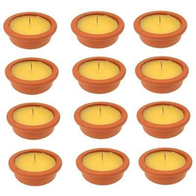 12 Citronella Anti- Mücken- Kerzen / Duftkerzen in einer Terracottaschale / Windlichter ca. Ø 9 cm x Höhe ca. 4 cm