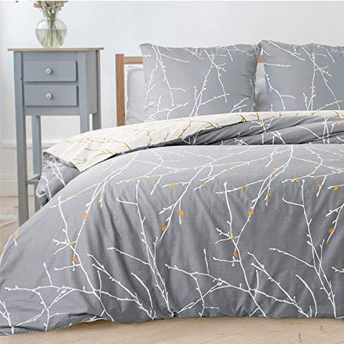 Bedsure Bettwäsche 135x200 cm grau Bettbezug Set mit Zweige Muster, 2 teilig microfaser Bettwäsche Flauschige Bettbezüge mit Reißverschluss und 1 mal 80x80cm Kissenbezug