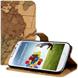kwmobile Wallet Case Kunstlederhülle für Samsung Galaxy S4 - Cover Flip Tasche in Landkarte Design mit Kartenfach und Ständerfunktion in Braun Beige
