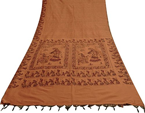 Vintage Indian Art Silk Sari Menschliche Printed Brown-Gewebe-Fertigkeit Ethnic Gebraucht Saree - Art Silk Sari Saree