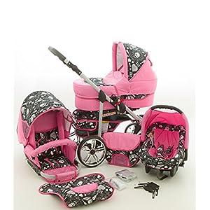 Milk Rock Baby Rock Baby Pram & Pushchair Travel System (car seat & adapter, raincover, mosquito net, swivel wheels) 04 pink & skull   14