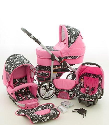 Milk Rock Baby Rock Baby Kinderwagen Komplettset (Autositz & Adapter, Regenschutz, Moskitonetz, Schwenkräder) 04 Rosa & Totenkopf