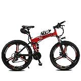Lvbeis Adulti Bicicletta Elettrica Pieghevole Mountain Bici Pedalata Assistita City Bike Portatile velocità Fino A 25 Km/h E-Bike da Strada,Red
