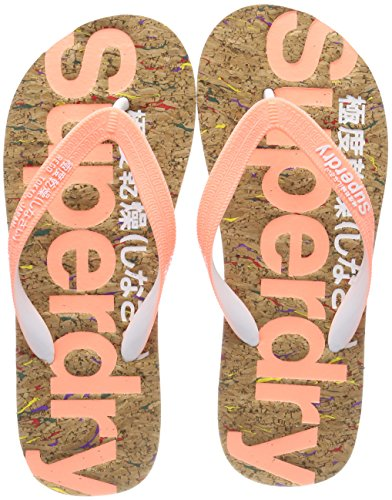 Superdry Damen Cork FLIP Flop Zehentrenner, Mehrfarbig (Multi Fleck/Fluro Coral NZ1), 40/41 EU -