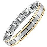 Herren Golf Link Armband 316L Edelstahl Magnet Therapie, Farbe Gold, Silber