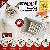 KeDDii Scoop 6in1 KATZENSTREUSCHAUFEL Grau Kotschaufel Streuschaufel Katzenstreusieb Katzenklo Katze 70