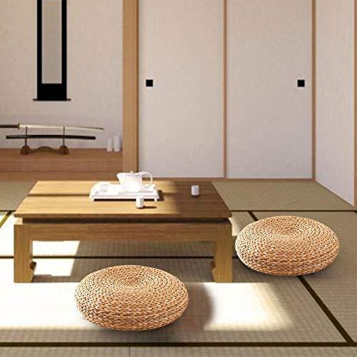 Hedear Tatami Yoga Sitzkissen Pouf Buddha Meditatio, handgefertigte Strohkissen verdickt Runde für Meditation Rest Stuhl Sitzmatte Gras Kissen Pad -