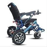 GJX Elektrischer Rollstuhl, rollender Aluminiumrollstuhl, untauglicher Rollstuhl, älterer elektrischer Rollstuhl (Farbe : Schwarz)