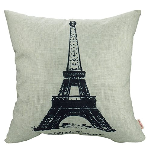 Luxbon Kissenbezug Kissenhülle Lendenkissen Bettkissen Pillowcase Dekokissen für Hause Zimmer Sofa Auto 45 x 45 cm Stilvoll Einfachheit Eiffelturm (Einfachheit Halloween-muster)