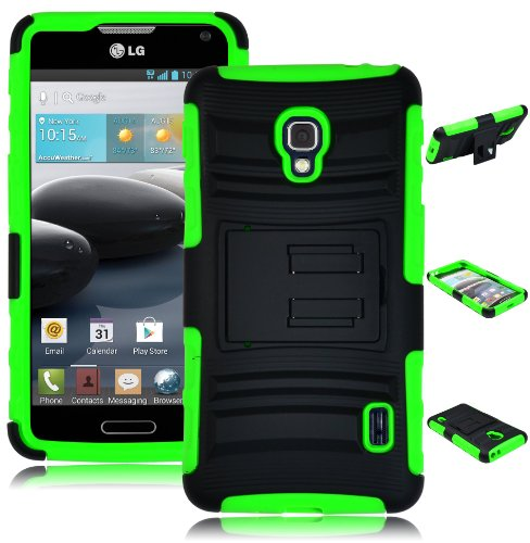 Bastex Heavy Duty Klappetui Holster Holster Rugged Hybrid Schutzhülle für LG Optimus F6D500-Grün Silikon/Schwarz Hartschale mit Ständer (F6 D500 Lg Optimus T-mobile)