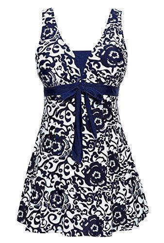Ecupper Damen Badekleid Blumen Muster Gepolstert Badeanzug mit Shorts Bademode Große Größen Navy Blau 4XL