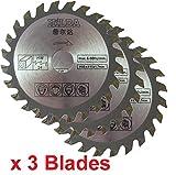 Drei Kreissägeblätter 85mm Durchmesser x 15mm Bohrung x 24T Holz Schneiden