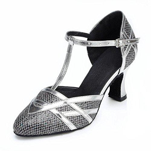 Miyoopark ,  Damen Tanzschuhe Black/Silver-7cm Heel