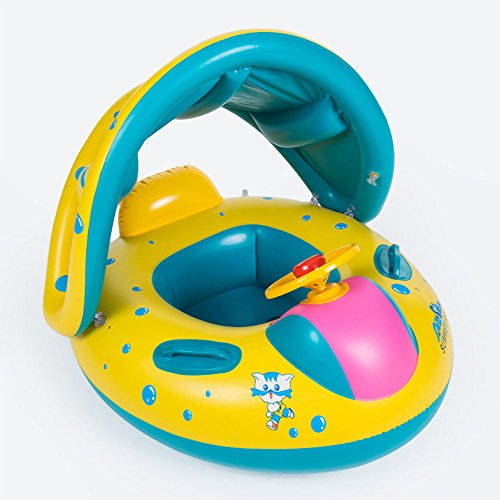 kuaetily Baby Schwimmring Kinderboot mit Dach ungd Griffen Schwimmhilfe Schwimmtrainer aus PVC Aufblasbar für Babys, Kleinkinder