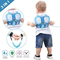 Idefair Kids Leash and Wrist Link Set, Toddler Anti Lost Safety Harness Cute Child Walking Leash for Boys and Girls to Disneyland, Mall or Zoo (Blue)