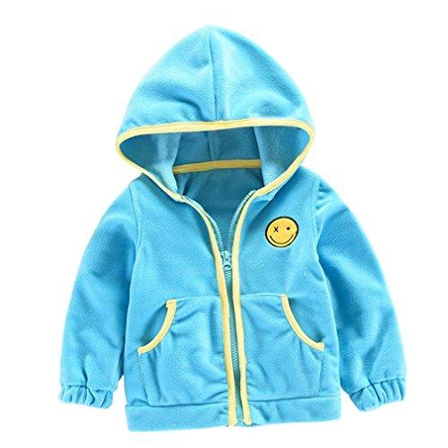 VENMO Neue Unisex Kinder Hoodies Kapuzenshirt mit Reißverschluss Sweatshirt Fleece-Tops Pullover Jacke Winter Smiling face Dicke Kapuzenjacke Mantel Umhang Jacke warme Kleidung (12M-24M, Blue)