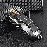 Carcasa T Carbon para llave, de fibra de carbono, para Porsche 991 981 Cayenne Panamera, color negro brillante