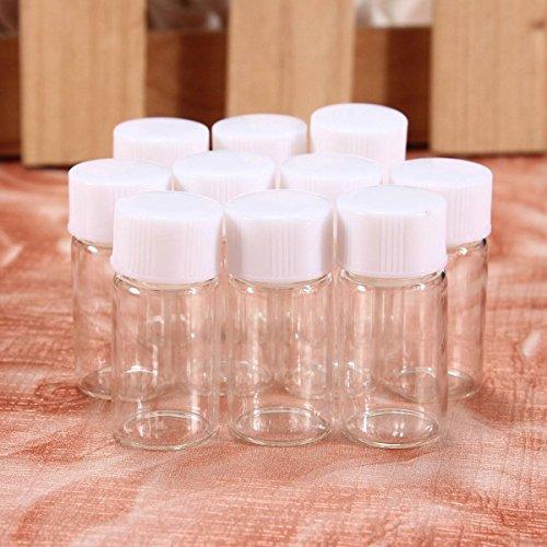 PhilMat 10pcs 3ml mini le piccole fiale di vetro carino bottiglie contenitori trasparenti con tappo a vite