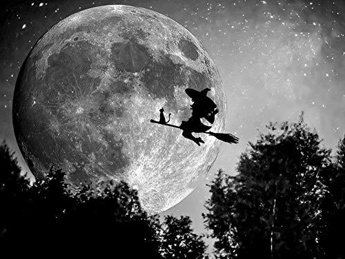 Oofficee 5D Diamant Malerei Stickerei Landschaft Voll Bohrer Platz 5D DiamantHexe Bild Von Strass Halloween Decor Home30 × 40 cm , 11 × 15In (Halloween-bilder Von Hexen)