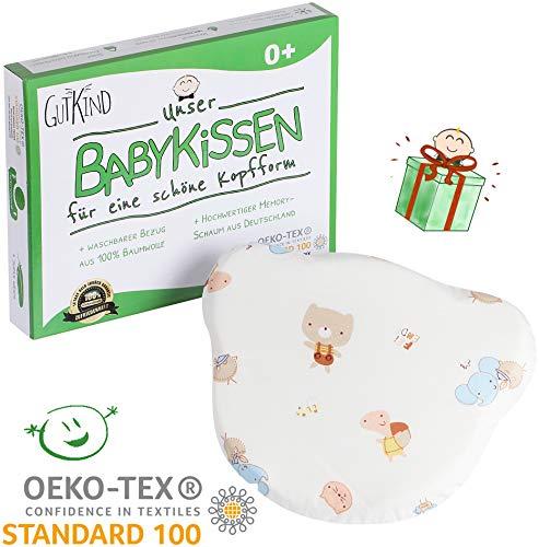 Gutkind Babykissen für eine schöne Kopfform mit Bezug aus 100% Baumwolle ÖKO-TEX 100 sicher mit deutschem Memory-Schaum