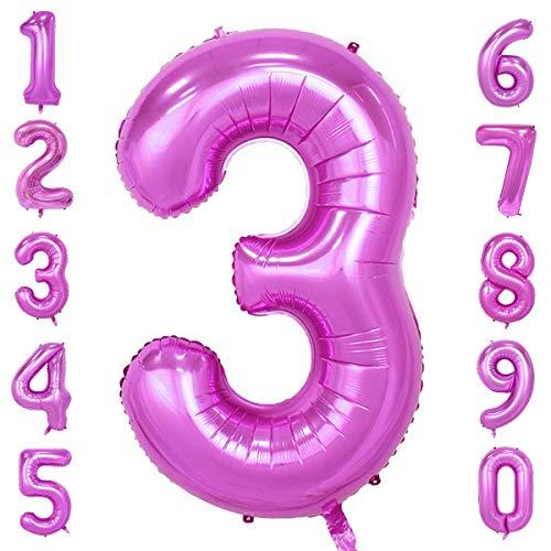 CHANGZHONG 40-Zoll 0-9 in Rosa Nummer Foil Ballons Helium Zahlenballon Luftballon Riesenzahl Party Hochzeit Kindergeburtstag Geburtstag Nummer 3