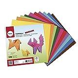 Rayher Hobby 71831000 Origami Faltblätter, 100 Blatt sortiert, 10 Farben beidseitig, Basistöne, Bastel Faltpapier für Kinder und Erwachsene, 15 x 15 cm, 80g/m2
