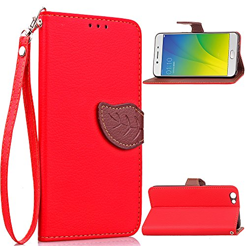 Oppo R9s Case, Happon Luxury PU Leather Wallet Flip Protective Phone case Case Cover with Card Slots and Stand for Oppo R9s Red