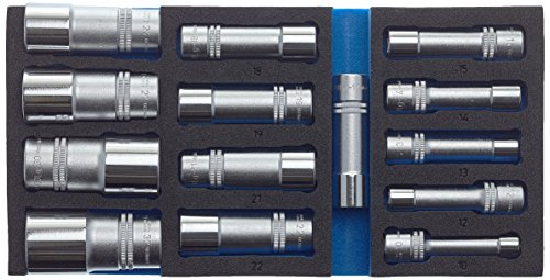 Hazet Steckschlüssel-Satz 163-459/15 ∙ Vierkant hohl 12,5 mm (1/2 Zoll) ∙ Außen-Sechskant-Tractionsprofil ∙ Anzahl Werkzeuge: 15