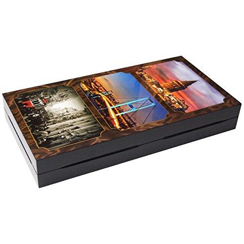 XXL Tavla Spiel - Istanbul Wahrzeichen Print - Türkisches Backgammon 47x47cm