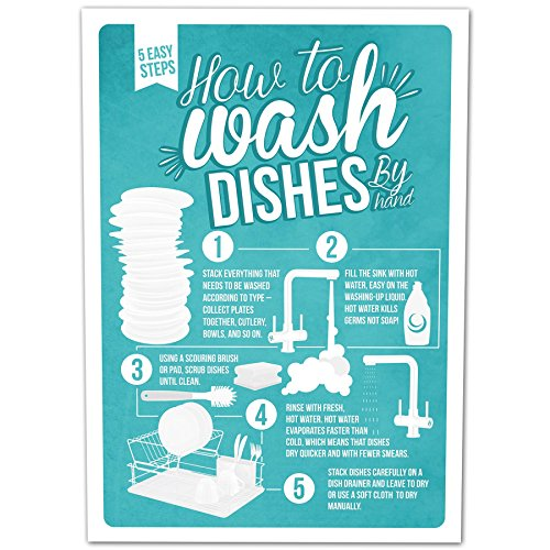 how-to-wash-dishes-infographic-poster-a4-print-christmas-xmas-stocking-filler-secret-santa-present