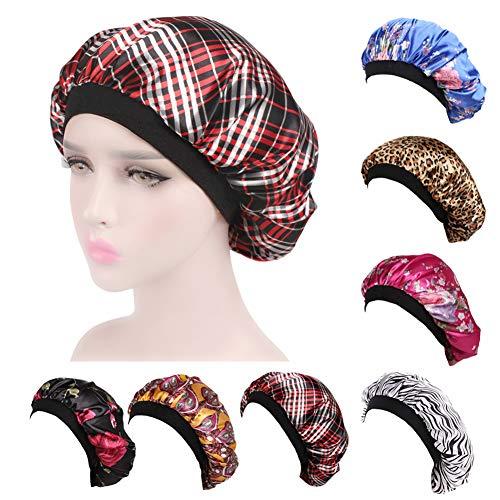 ZYCC Capot de Sommeil de Chapeau de Satin à Large Bande, Femmes de Coup de Chapeau de Cancer de pour Le Sommeil/Cancer/Chimio/Perte de Cheveux (Treillis)