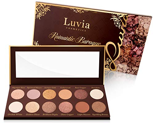 Luvia Lidschatten Palette Matt, Schimmer & Glitzer - Romantic Baroque Make-Up - Inkl. 12 romantischen Farben der Epochen - Limitierte Geschenkbox
