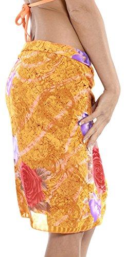Bademode Wickelkleid Badebekleidung Badeanzug-Bikini-Vertuschung Schal Badeanzug Rock Orange