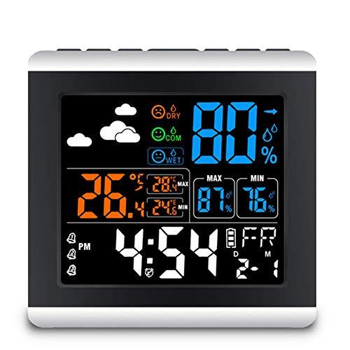 1-1 LCD Sveglia Colorata, Stazione Meteo Digitale Senza Fili Temperatura umidità sensore registratore termometro igrometro,Black