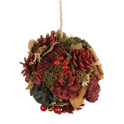 Weihnachtsdekoration, Tannenzapfen, Beeren-Zimt, 14 cm, Rot/Grün, Naturfarben, Multi, H14 x W14 x D14cm