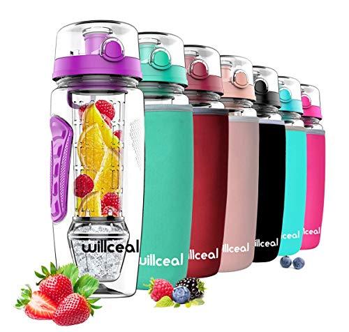 willceal Wasserflasche Mit Fruchteinsatz 945 ml Durable mit abnehmbarem Eisgel-Ball, groß - BPA-freies Tritan, Flip-Deckel, dichtes Design - Sport, Camping (lila)