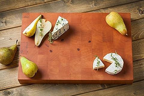 Gourmet Grand 45x 30x 4,5cm. rectangulaire Planche à découper avec poignées en bois Grain fin Poire