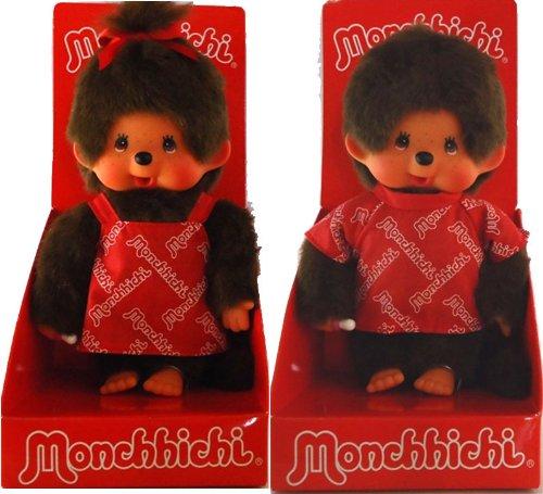 2 Stk Monchhichi Monchichi Puppe Paar Boy & Girl in Logo Shirt und Kleid