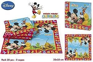 Disok- Lote 20 Servilletas Mickey, Multicolor (7034)