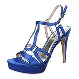 High Heel Sandaletten Damen-Schuhe Plateau Pfennig-/Stilettoabsatz High Heels Schnalle Ital-Design Sandalen / Sandaletten Blau, Gr 39, 14-M41332D-