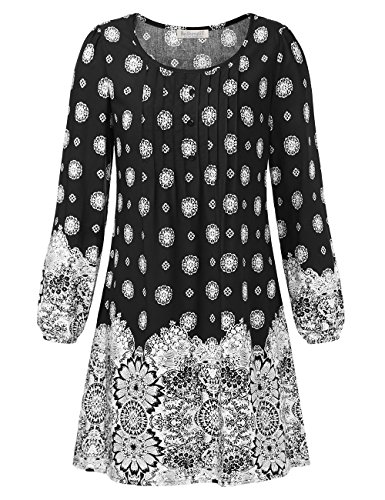 BAISHENGGT Damen Vintage Bohemian Minikleid Tunika kleid Kleider Lose Schwarz-Print X-Large (Print Tunika Vintage)