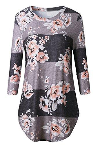 Rangeyes Donna Camicetta a Manica Lunga Girocollo Pullover Sweatshirt Miscela Del Cotone Stampa Maglie Bluse Camicie Casual T-shirt Top Maglietta Graycoffee