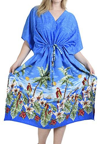 La Leela Papagei weichen alle Vintage-Badebekleidung tief Hals in Strand Bikinidamen verschleiern casual Abendkleid plus Dressing Nachthemd Lounge Abend tief Hals lange Kimonorobe Maxikleid Kaftan ethnischen blau