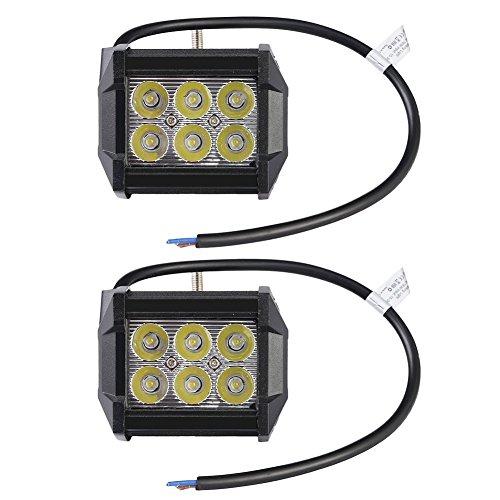RUIX 2 PCS 18W Phares Projecteurs, Lampe De Conduite, Lampe De Brouillard, Barre Lumineuse De Voiture, Lampe Automatique, Lumière De Travail LED, 1800LM DC 12-24V, IP65 Étanche (18W)