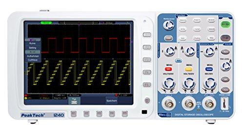 PeakTech 60 MHz 2 Kanal Digital Speicher Oszilloskop 500 MS/s DSO kit mit USB, LAN, VGA, PC Software, Akku optional, 1 Stück, P 1240