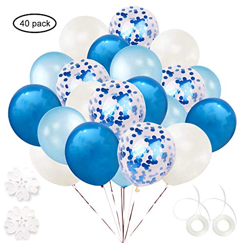 ETLEE 40 pcs Weiß / Blau / Hellblaue Konfetti Luftballons ,12 Zoll Latex Ballonfür Geburtstag PartyDekoration, Hochzeit, Baby-Duschen, Braut Geschenke,Valentinstag, Silvester