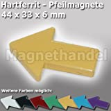 10 Pfeil Magnete - Pinnwandmagnete Pfeile Ferrit - gelb