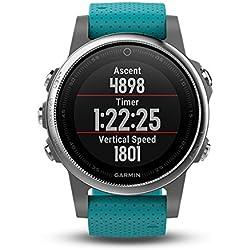 Garmin Fenix 5S - Reloj multideporte, con GPS y medidor de frecuencia cardiaca, lente de cristal y bisel de acero inoxidable, 42 mm, Plata/Turquesa