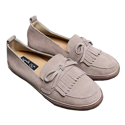 3 Tie Lace Up Schuh (Damen Neue Freizeit Flats Single Schuhe Tassel Schuhe Soft Soles Runde Kopf Bow Tie Scrub Pumps Aprikose Brown Fall Frühling Party Work , apricot , EUR 35/ UK 3)